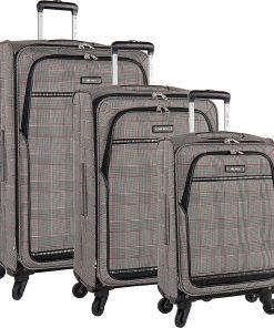 Nine West Luggage Girls Trip 3 Piece Expandable Spinner Luggage Set Black/White/Red - Nine West Luggage Luggage Sets