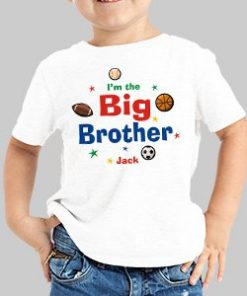 Sporty I'm the Brother Personalized Kids T-Shirt