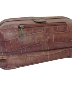 AmeriLeather Printed Leather Toiletry Bag Brown Croco-Print - AmeriLeather Toiletry Kits