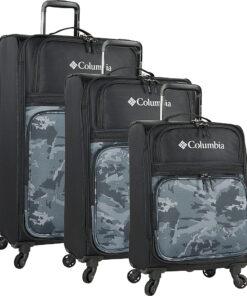 Columbia Luggage Watchmen Peak 3 Piece Expandable Spinner Luggage Set Black Camo - Columbia Luggage Luggage Sets