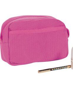 Hot Pink Waffle Weave Makeup Bag