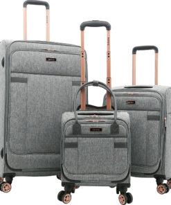 Kensie Luggage Hudson 3 Piece Expandable Softside Spinner Luggage Set Gray/Rose Gold - Kensie Luggage Luggage Sets