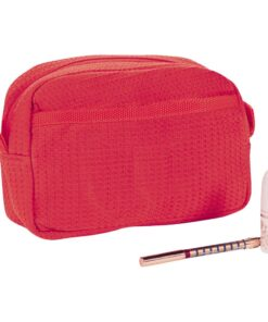 Red Waffle Weave Makeup Bag