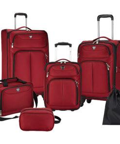Travelers Club Luggage Hartford 6 Piece Softside Luggage Set Red - Travelers Club Luggage Luggage Sets