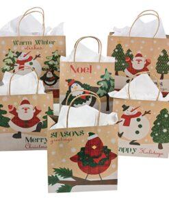 Christmas Kraft Paper Gift Bag Assortment Multicolor