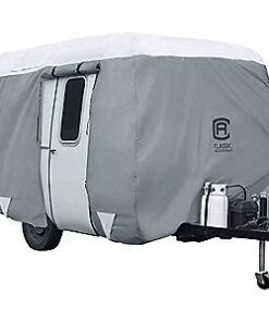 Classic Accessories OverDrive PolyPRO 3 Molded Fiberglass Travel Trailer Cover - Grey/Snow White