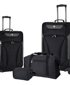 Travelers Club Luggage Augusta 4 Piece Softside Spinner Value Luggage Set Black - Travelers Club Luggage Luggage Sets