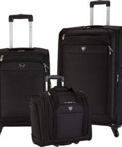 Travelers Club Luggage Monterey 3 Piece Softside Luggage Set Black - Travelers Club Luggage Luggage Sets