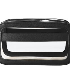 Cathy's Concepts Personalized Large Vegan Leather Travel Cosmetic Case Black Plain - Cathy's Concepts Toiletry Kits