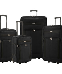 Elite Luggage Cedar 4-Piece Softside Rolling Luggage Set Black - Elite Luggage Luggage Sets