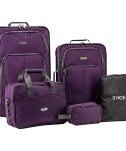Elite Luggage Whitfield 5 Piece Softside Lightweight Rolling Luggage Set Purple - Elite Luggage Luggage Sets