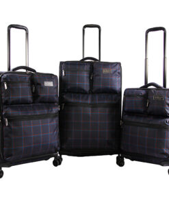 Original Penguin Luggage Norton 3 Piece Expandable Spinner Luggage Set Navy Plaid - Original Penguin Luggage Luggage Sets