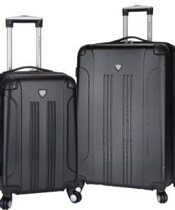 Travelers Club Luggage Chicago 2PC Original Hardside Expandable Spinner Luggage Set Black - Travelers Club Luggage Luggage Sets