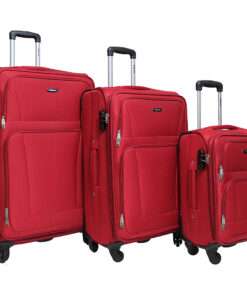 Dejuno The Escape 3-Piece Softside Lightweight Spinner Luggage Set Red - Dejuno Luggage Sets