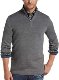 Joseph Abboud Light Gray 1/4 Zip Mock Neck Wool Sweater