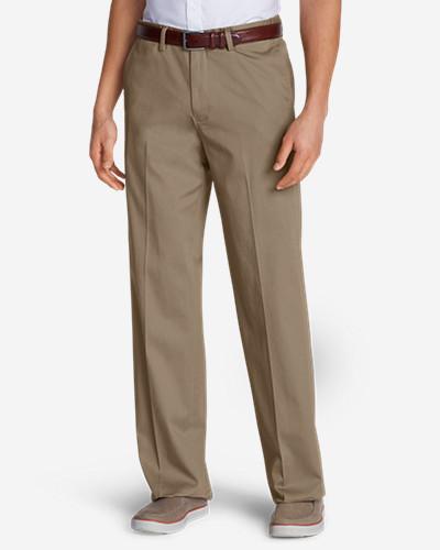 Men's Dress Performance Comfort-Waist Flat-Front Khakis - Relaxed