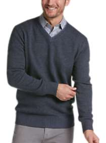 Joseph Abboud Blue Modern Fit V-Neck Sweater
