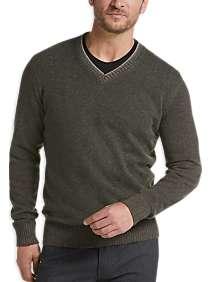 Joseph Abboud Olive Modern Fit V-Neck Sweater