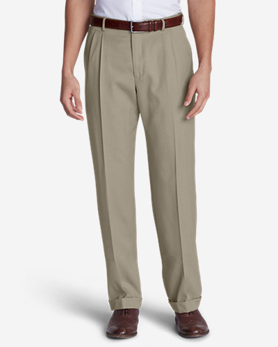 Men's Relaxed-Fit Pleated-Front Wool Gabardine Trousers
