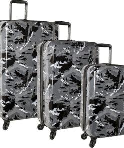 Columbia Luggage Maple Trail 3 Piece Hardside Spinner Luggage Set Black Camo - Columbia Luggage Luggage Sets