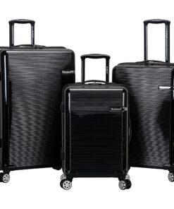 Rockland Luggage Horizon 3 Piece Hardside Spinner Luggage Set Black - Rockland Luggage Luggage Sets