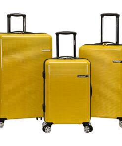 Rockland Luggage Horizon 3 Piece Hardside Spinner Luggage Set Yellow - Rockland Luggage Luggage Sets
