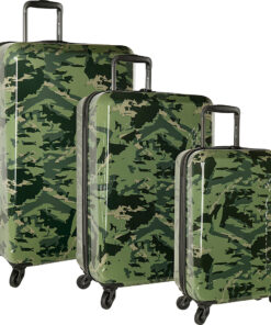 Columbia Luggage Maple Trail 3 Piece Hardside Spinner Luggage Set Green Camo - Columbia Luggage Luggage Sets