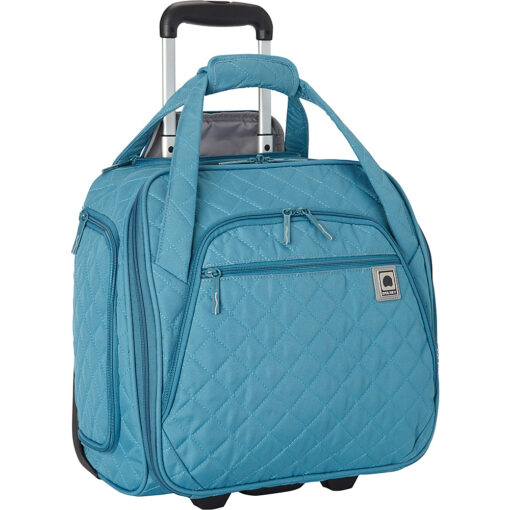 Delsey Quilted Rolling Underseat Tote- EXCLUSIVE Teal - Delsey Softside Carry-On