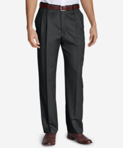 Men's Relaxed-Fit Pleated Comfort-Waist Wool Gabardine Trousers