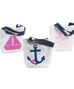 Mini Nautical Girl Tote Bags White