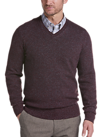 Joseph Abboud Burgundy Modern Fit V-Neck Sweater