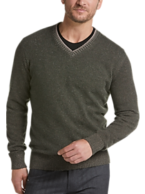 Joseph Abboud Olive Modern Fit V-Neck Sweater