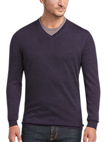 Joseph Abboud Purple Modern Fit V-Neck Merino Wool Sweater