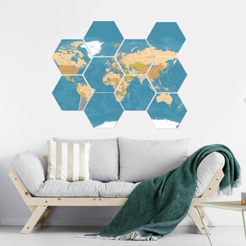 Enjoythewood Earth Wood Hexagon Wall Art