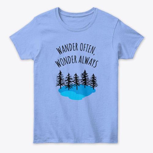 wander often women's t-shirt